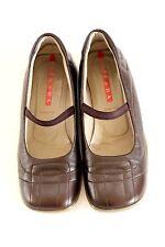 PRADA Sport Mary Jane Flats Shoes Sz US 8.5 EU 38.5 Coffee Brown Leather Comfy