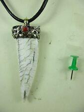 Altes Tigerzahn Amulett fossile Muschel Perlmutt & Leder Halskette Tibet ~1970