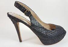 House of Harlow black leather open toe high heels uk 8 eu 41 worn once