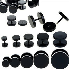 BLACK Stainless Steel Fake Cheater Ear Plugs Piercing Stud Ring Jewellery CH5