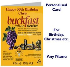 Personalised Buckfast Bucky Wine Birthday / Christmas Card funny gift drink