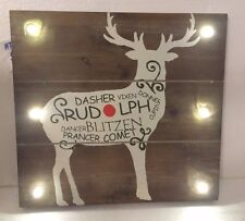 REINDER WOOD Marquee Sign. Light up. Battery operated. 16 x 15 inch. RUDOLPH NEW