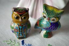 Vintage Chinese Cloisonné Enamel Brass Owls Sculpture Figurine Statue Set of 2
