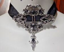 CHUNKY GOTHIC CHOKER black silver filigree damask rose ribbon necklace collar Y4