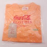 Vintage 1990 Size 3 Orange Coca Cola Coke Clothes Polo Collar Shirt