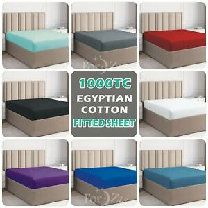 Luxury 1000TC Egyptian Cotton Deep Fitted Sheet S/K Single/D/Queen/K/S King Bed