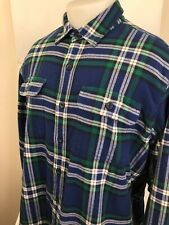 L.L. BEAN - Blue/Green/White Fleece Lined Mens Lg. Outdoor Flannel Shirt Jacket