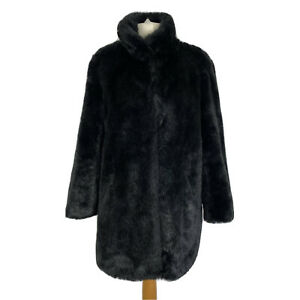 M&S Black Faux Fur Pocketed Smart Party Occasion Winter Coat Size 16 -Mint Cond.