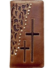 CROSS brown cut out FATHERS DAY CHRISTIAN LEATHER COWBOY Bifold  Wallet Western