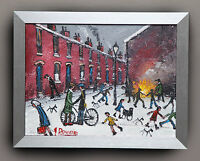 NORTHERN ART JAMES DOWNIE ORIGINAL OIL PAINTING 'BONFIRE IN THE STREET'
