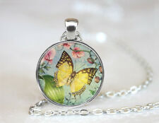 Butterfly Art Collage Tibetan silver Dome Glass Art Chain Pendant Necklace