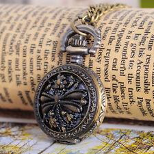 Hp 1PC bronze tone chaîne collier sautoir libellule ronde quartz montre de poche 84cm