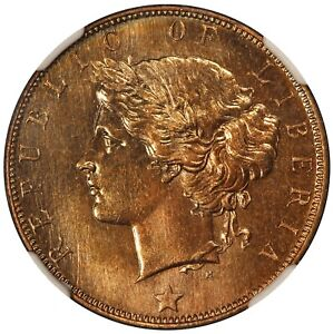 1896-H Liberia One Cent Bronze Coin - NGC MS 67 RB - KM# 5 - TOP POP-1
