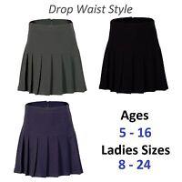 Girls Womens Pleated School Skirt Drop Waist Grey Black Navy Ages 5-16 Size 6-24