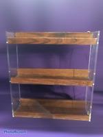 Solid Wood/Acrylic Country Spice Jar Miniature Figurine Wall Shelf Rack Display