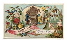 Victorian Trade Card B SHONINGER ORGAN & PIANO Fellows & Sons Schuylerville NY
