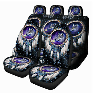 7PCS Front Rear Car Seat Covers Full Set Protectors Washable Cushion Dream Wolf