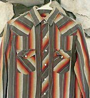 Vtg 70s Wrangler Pearl Snap Shirt Sz M Western Long Sleeve Rockabilly Stripe