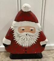 """Hand Carved Painted Wood Santa Claus Folk Art Figurine 5"""" Signed Sam 1989 Tree"""