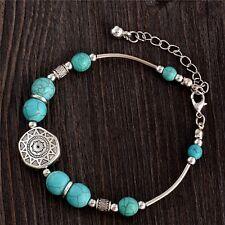 Turquoise & Silver Cuero Buddha Bracelet Boho Bohemian Jewellery Festival A018