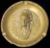 VINTAGE HEAVY BRASS HIGH RELIEF NATIVE AMERICAN INDIAN CHIEF PORTRAIT ASHTRAY !