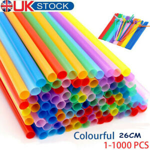1-1000 Plastic Colorful Straws Birthday Wedding Summer Party Cocktail Drink 26jh