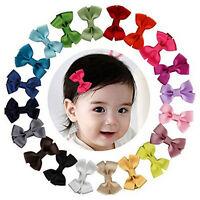 20PCS Baby Girls Hair Bows Boutique Alligator Clip Grosgrain Ribbon Hairpins