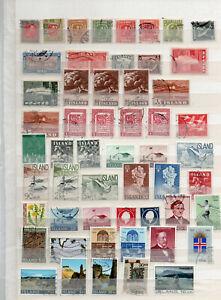 Island, Lot Marken auf Steckblatt gestempelt k02/3