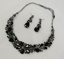 Black & Gray Rhinestone Crystal Silver Statement Necklace Set #17202 Wedding