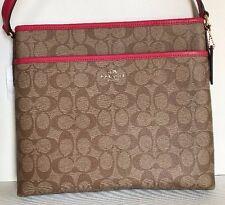 NWT Coach 58297 Signature File Bag Crossbody handbag Khaki / Bright Pink