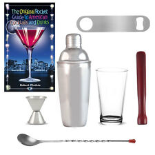 7 Piece Bar Shaker Set w/ Bartender Book Cocktail Mixer Mixing Glass Party Kit