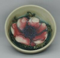 Moorcroft Anemone Bowl on two green ground - impressed and marks to base - 8c...