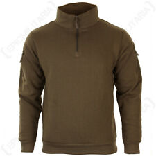 Dark Coyote Sweatshirt with Zip - High collar headphone outlet patch Military