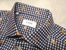 Eton of Sweden Slim Fit Navy Gingham Check with Bulldogs Sport Shirt NWT XL $295