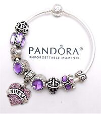 Authentic Pandora Silver Bangle Charm Bracelet With Purple Nurse European Charms