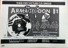 DEF LEPPARD  Armageddon It tour UK magazine ADVERT/Poster/clipping 8x6 inches