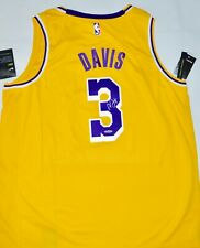 AUTOGRAPHED UDA ANTHONY DAVIS LOS ANGELES LAKERS GOLD SWINGMAN JERSEY