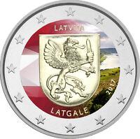 2 Euro Gedenkmünze Lettland 2017 coloriert Farbe / Farbmünze Latgale