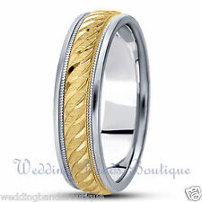 Band Men'S Carved Curve Milgrain Ring 6Mm 18K White Yellow Two Tone Gold Wedding