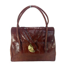 90f4213bc5a GIVENCHY RARE VINTAGE BROWN CROC EMBOSSED LEATHER BAG