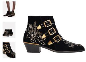 Chloe Susanna Crystal-Studded Velvet Booties - IT 40 - black - EUC