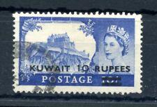 KUWAIT 1955-5710r on 10/- ultramarine opt type II fu short perf SG 109a Cat £140