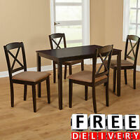 Dining Table And Chairs Room 5 Piece Rubber Wood Modern Contemporary Kitchen Set