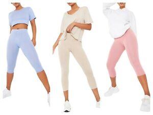 Capri Short 3/4 Length Summer High Waisted Capri Leggings for Women Ladies UK