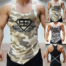 Men's Camo Camouflage Fitness Gym Sport Sleeveless Tank Top Vest Muscle T-Shirt