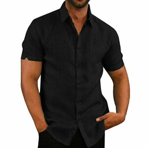 Mens Casual Style Fit Short Sleeve Solid Shirts Summer Formal Dress Top Shirt UK