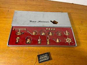 Vintage Brass Miniature Dollhouse 16 Pc Set From Montgomery Wards Unused