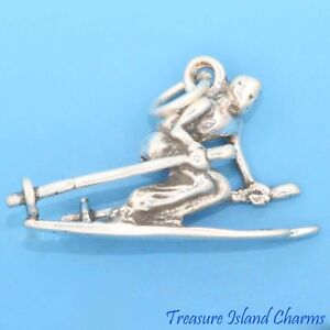 Snow Skiing Male Skier Winter Ski 3D 925 Solid Sterling Silver Charm MADE IN USA