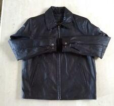 NEW ATTENTION Men's Black Leather Motorcycle Moto Riding Jacket Size M/Medium