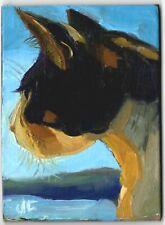 ACEO original oil painting animal BOLD BIG CAT feline impressionist fine art ATC